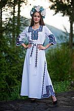 Традиційне вишите плаття в благородних відтінках синього хрестика з 3/4 рукавом.