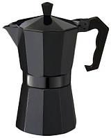 Гейзерная черная алюминиевая кофеварка  на 9 чашек