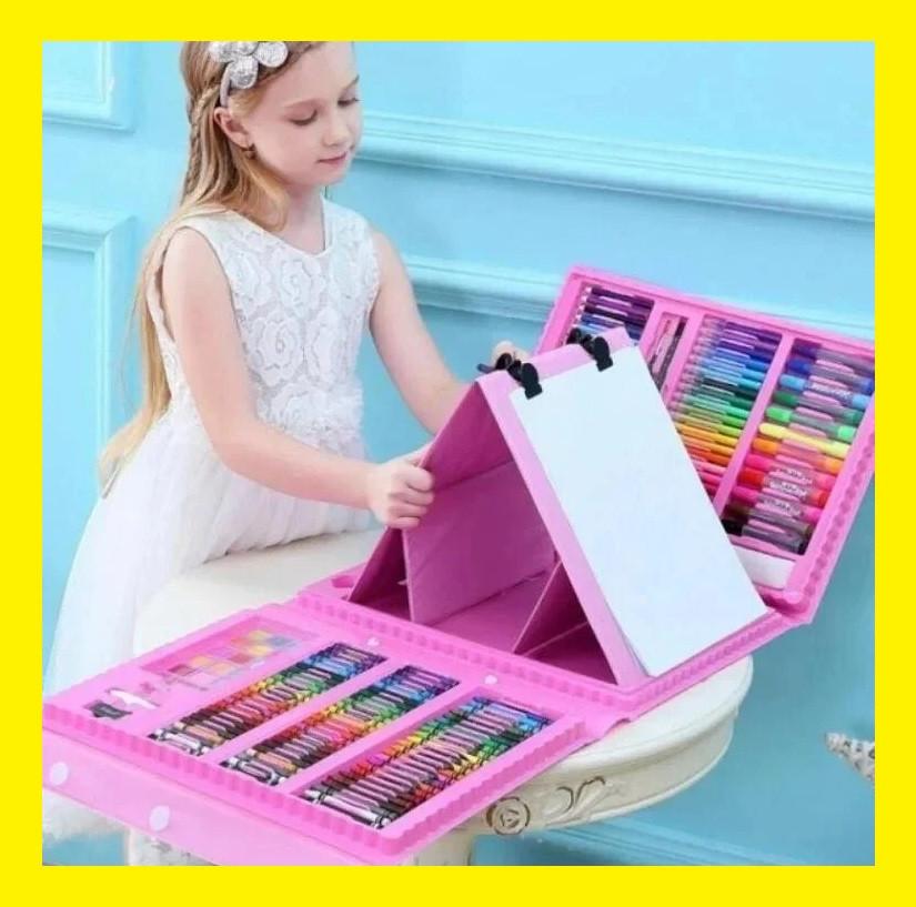 Набір для малювання валізу 208 предметів Колір рожевий