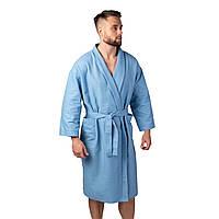 Вафельный халат Luxyart Кимоно размер (50-52) L 100% хлопок синий (LS-1401)