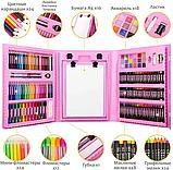 Набір для малювання валізу 208 предметів Колір рожевий, фото 5