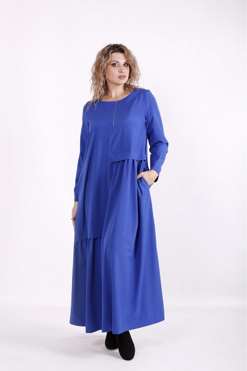 Синє приховує плаття в підлогу молодіжне великого розміру 42-74. 01598-2