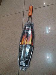 Решітка-гриль для риби 36х12 з дерев'яною ручкою
