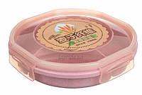 Еко ланч-бокс для перенесення їжі Nandina 3-х секційний, з ложкою, 0,85 л, рожевий, пластик, еко бокс,, фото 1