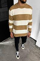 Мужской свитер полосатый 2Y Premium 7007 beige/white, фото 1
