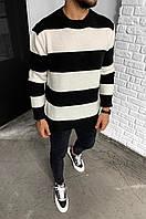Чоловічий светр смугастий 2Y Premium 7007 black/white