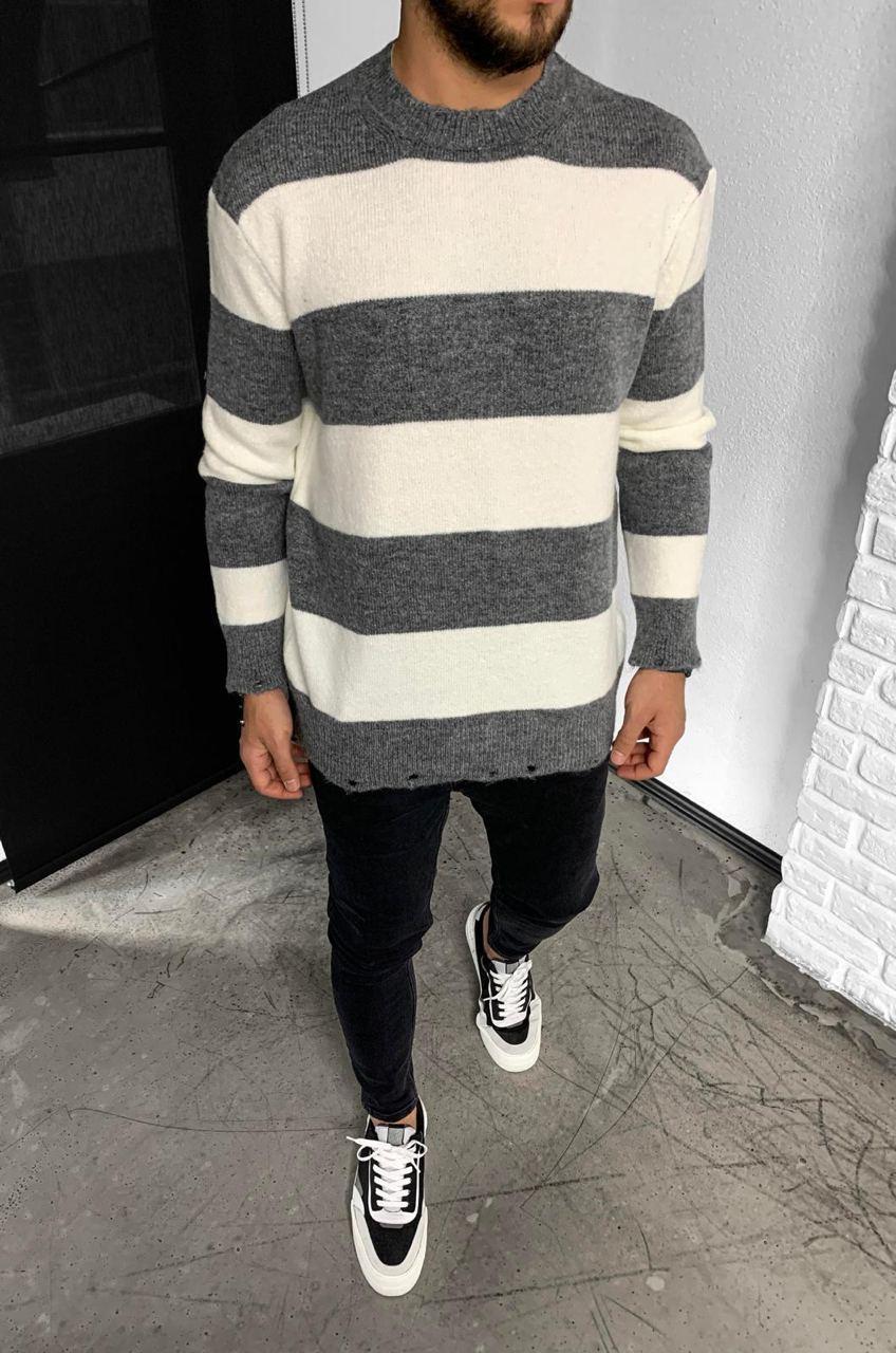 Чоловічий светр смугастий 2Y Premium 7007 grey/white