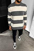 Чоловічий светр смугастий 2Y Premium 7007 grey/white, фото 1