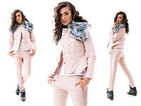 Женский теплый костюм розовая пудра