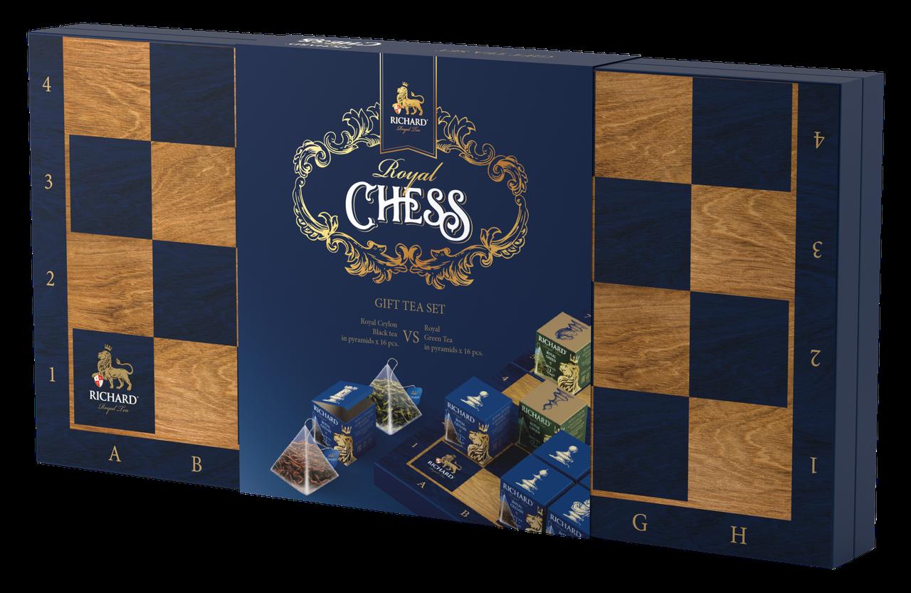 Чай ассорти в пирамидках Richard Royal Chess (Ричард), 32 пирамидки