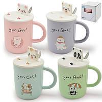 """Чашка с крышкой-подставкой для напитков """"Animal"""" разные цвета, 450мл, керамика, чашка с крышкой-подставкой,"""