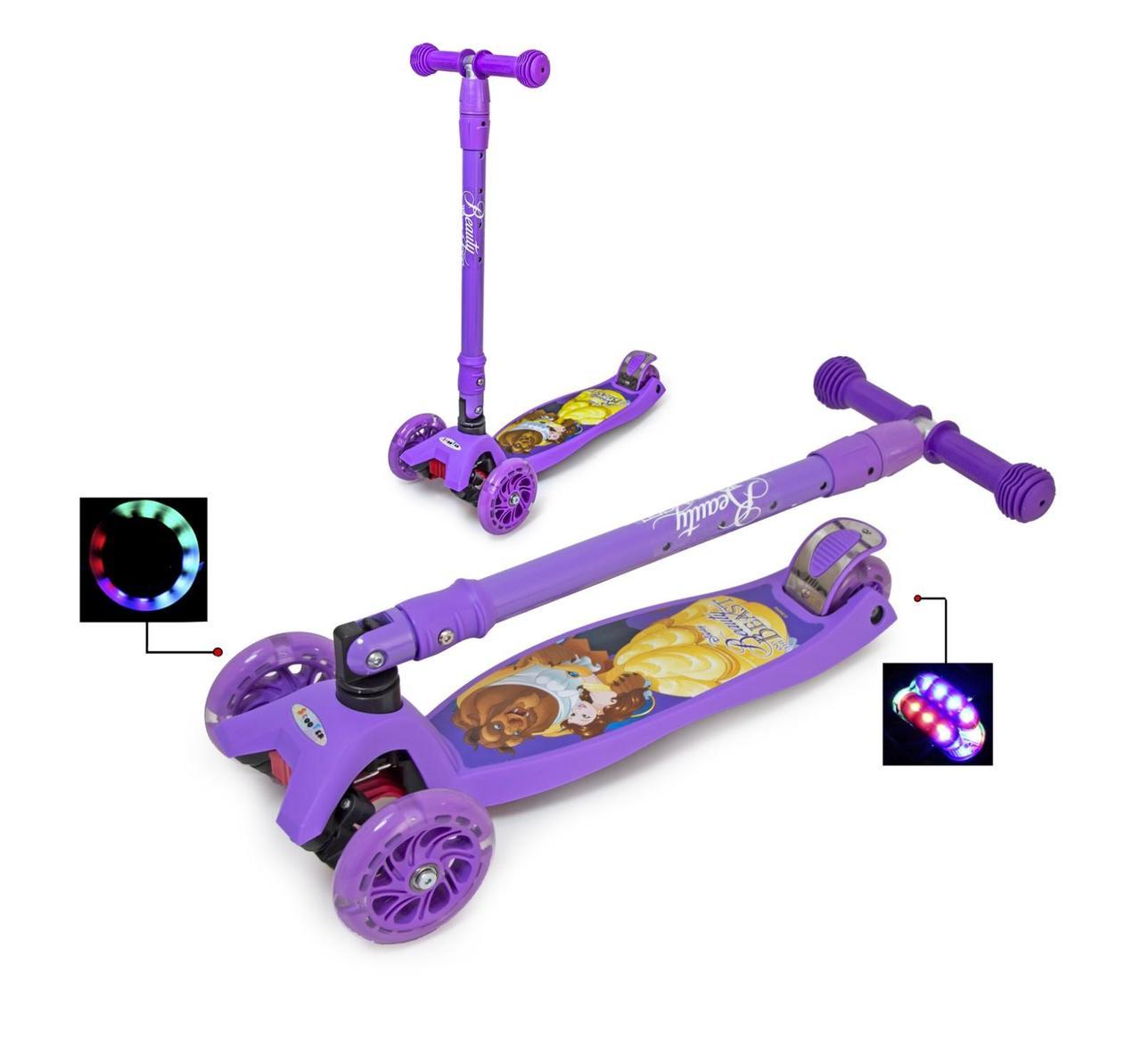 """Самокат Scooter Maxi Disney """"Красавица и Чудовище"""" складной, поворот наклоном руля"""