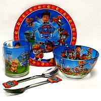 Набор детской стеклянной посуды Щенячий патруль (Paw patrol) 5 предметов синий Metr+ (PР2137)
