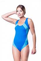 Купальник женский закрытый Shepa 009 слитный,цельный, без чашек(чашечек) спортивный для бассейна Голубой, L