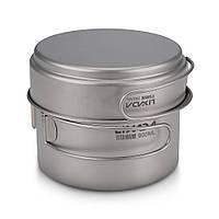 Титановый набор 2в1 сковородка + котелок Lixada CKW-900 ml. Туристическая посуда из титана.