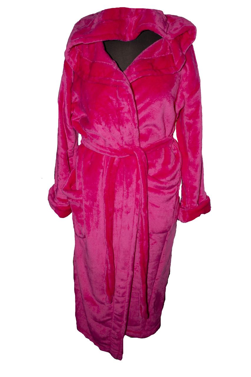 Халат длинный махровый с капюшоном Бордовый Большого размера