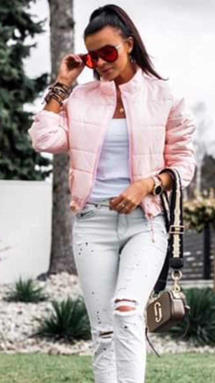 Куртка стеганная короткая на молнии Розовый
