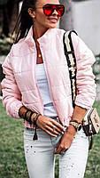 Куртка стеганная короткая на молнии Розовый, фото 2
