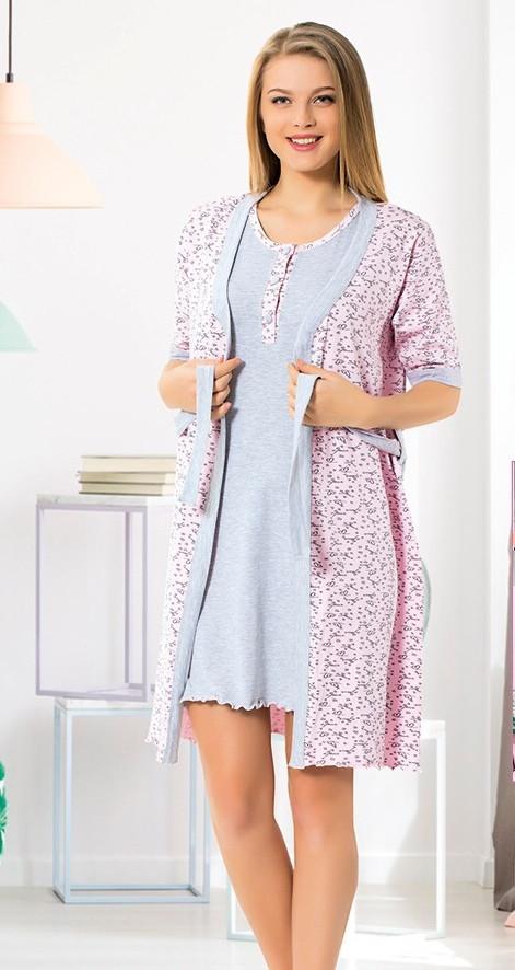 Ночной комплект халат и сорочка трикотажный