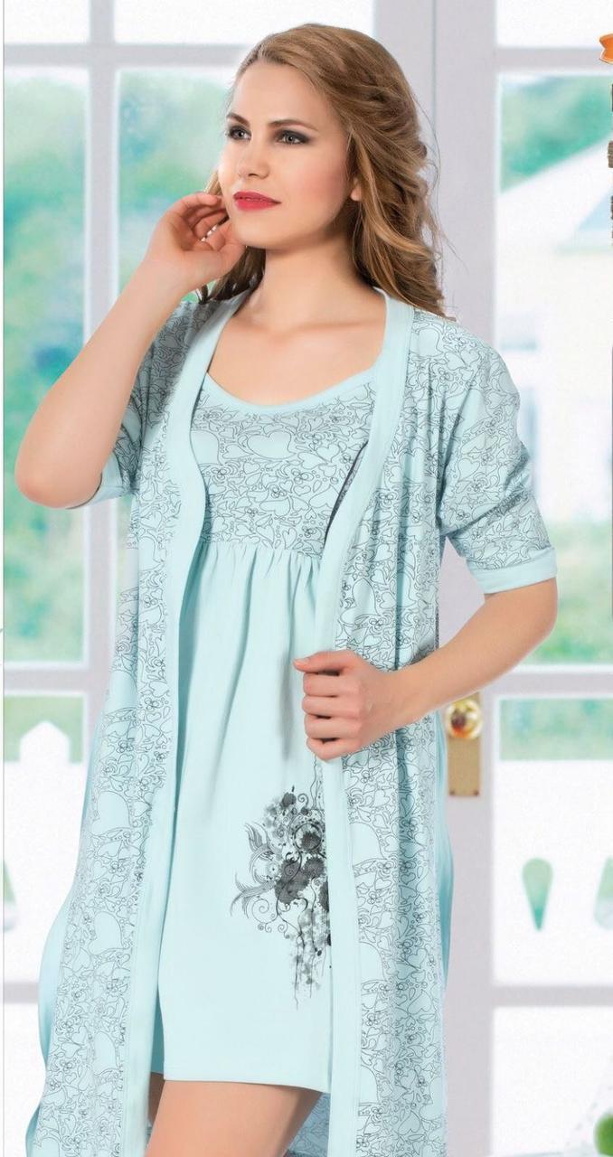 Ночная рубашка и халат женская трикотажная miss victoria