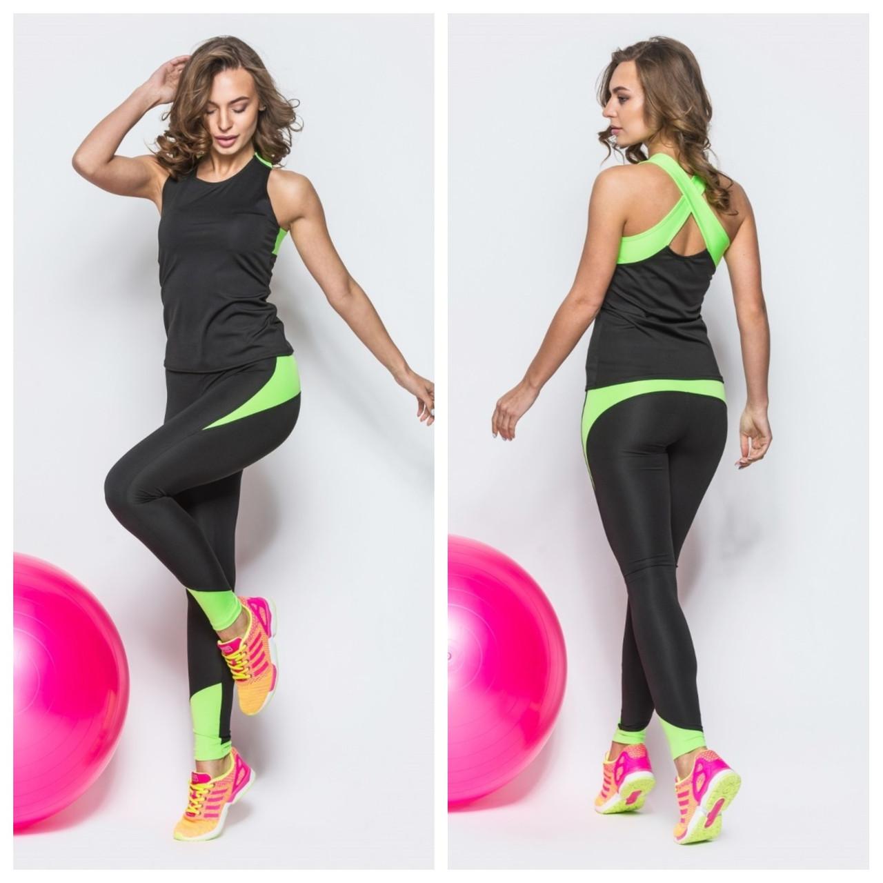 Спортивный костюм женский для фитнеса 2в1 Леггинсы Лосины для спорта Спортивная майка Одежда для фитнеса Черный-салатовый