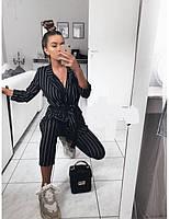 Оригинальный брючный костюм в полоску, черный, белый, фото 2