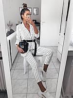 Оригинальный брючный костюм в полоску, черный, белый, фото 3