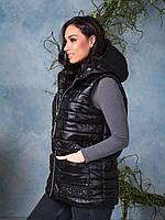 Женская жилетка стеганая на молнии Черная Большой размер, фото 2