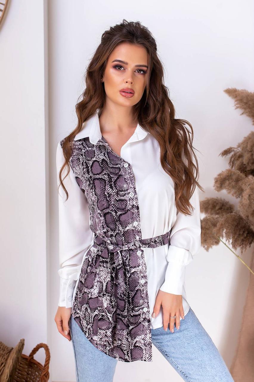 Женская стильная блузка Питон удлиненная Белая