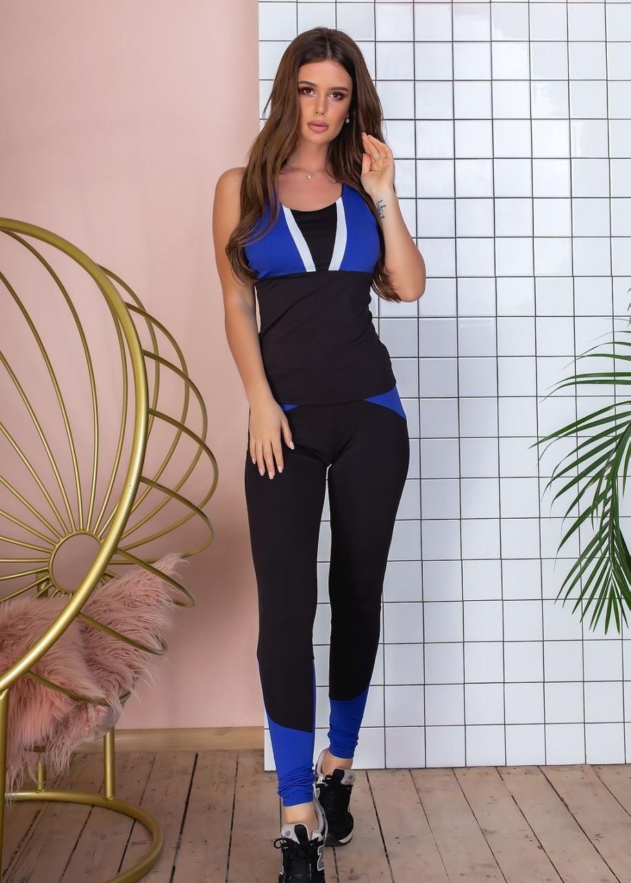 Спортивный костюм женский фитнес, майка лосины, с цветными вставками, Черный+синий