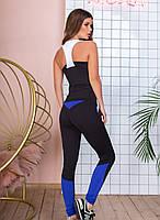 Спортивный костюм женский фитнес, майка лосины, с цветными вставками, Черный+синий, фото 2