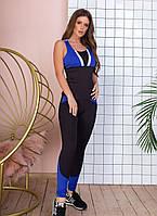 Спортивный костюм женский фитнес, майка лосины, с цветными вставками, Черный+синий, фото 3