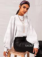 Шикарная блуза с пышными рукавами Белый, Персик, Черный, фото 2