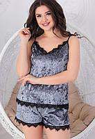 Пижама, Комплект шорты с майкой (электрик, бордо, серый, пудра, голубой, темно синий, бутылка, сухая роза), фото 3