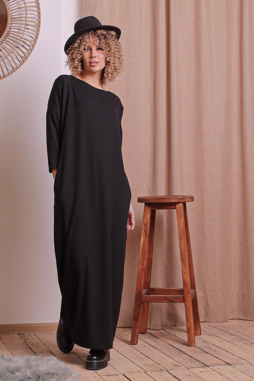 Платье длинное свободный крой Черный Большого размера