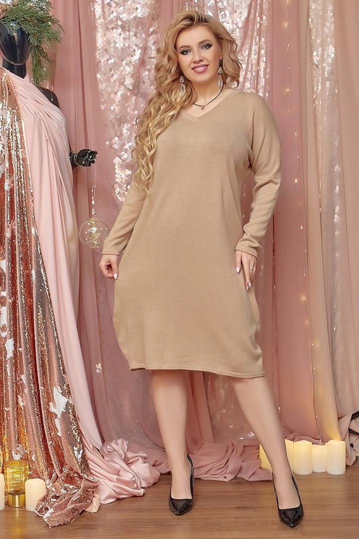 Платье миди с длинным рукавом свободного кроя Бежевый Большой размер