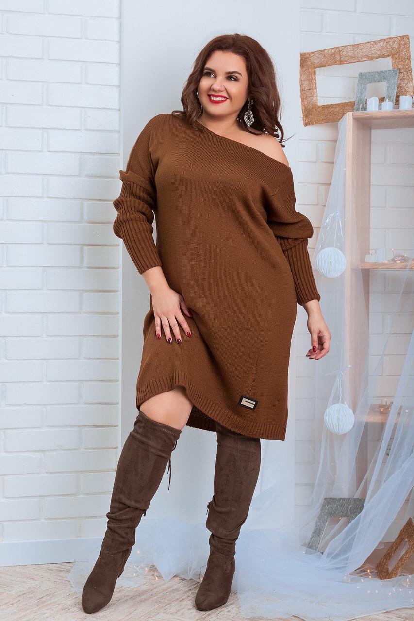 Платье туника вязанное р44-58 Шоколад
