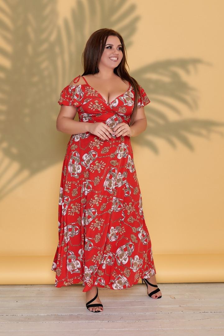 Плаття великих розмірів від виробника Червоний