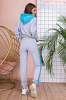 Спортивный костюм турецкая двухнитка, весна-осень, пудра с графитом, серый с бирюзой, фото 3