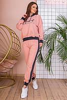 Спортивный костюм турецкая двухнитка, весна-осень, пудра с графитом, серый с бирюзой, фото 5