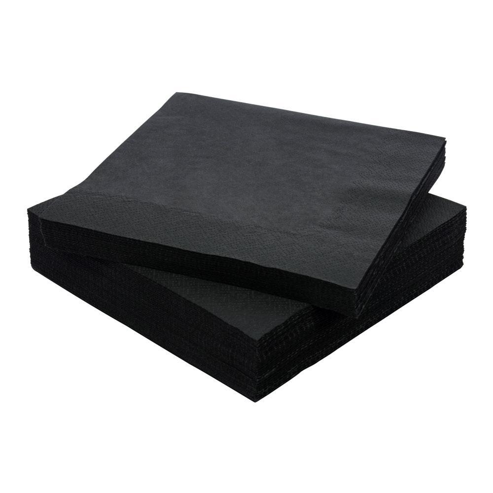 Салфетки черные 33х33см Papero 100шт  2 слойные