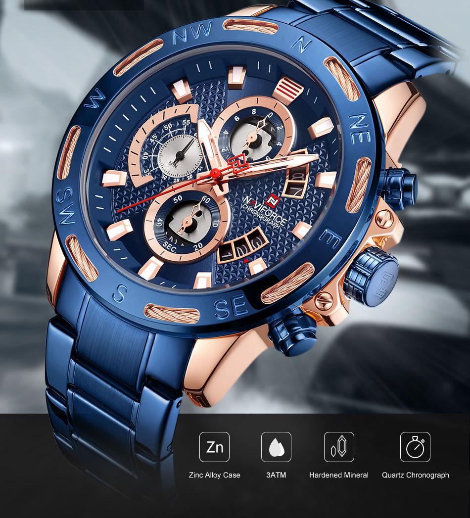 Мужские наручные часы Naviforce Golden Gate NF9165M Водостойкие Blue