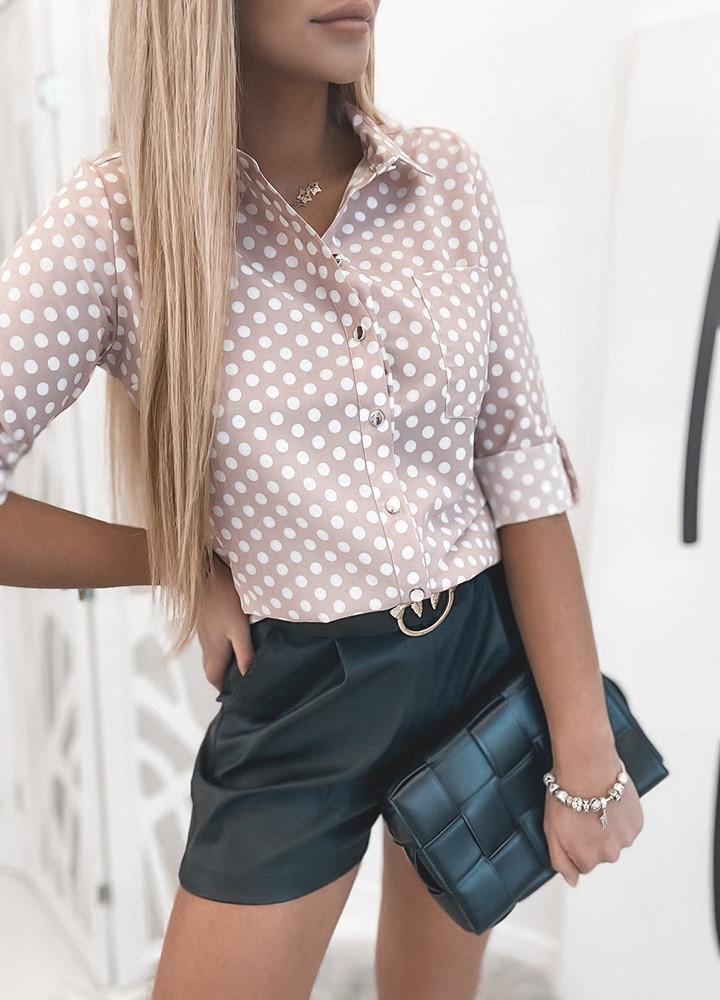 Блузка с коротким рукавом в горошек Пудра