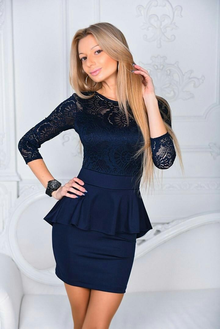 Платье с баской женское нарядное Темно-синий