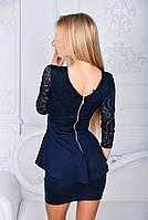 Платье с баской женское нарядное Темно-синий, фото 2