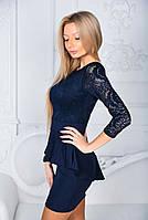 Платье с баской женское нарядное Темно-синий, фото 3