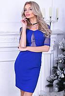 Платье короткое со вставкой из сетки Электрик, фото 2