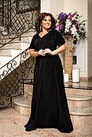 Длинное шикарное вечернее платье в пол Черный Большой размер, фото 2