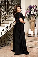 Длинное шикарное вечернее платье в пол Черный Большой размер, фото 3