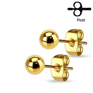Сережки гвоздики з медичної сталі Spikes Жовте золото